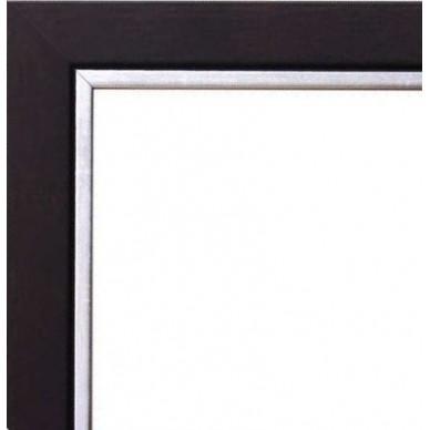 cadre bois noir bord argent avec verre et dos prix discount sur cadre. Black Bedroom Furniture Sets. Home Design Ideas