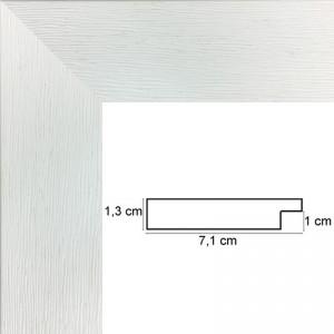 Encadrement Plat strié Blanc 7 cm