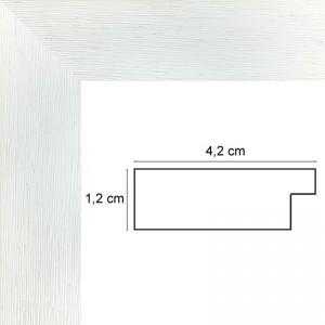 Cadre Plat strié Blanc 4,2 cm