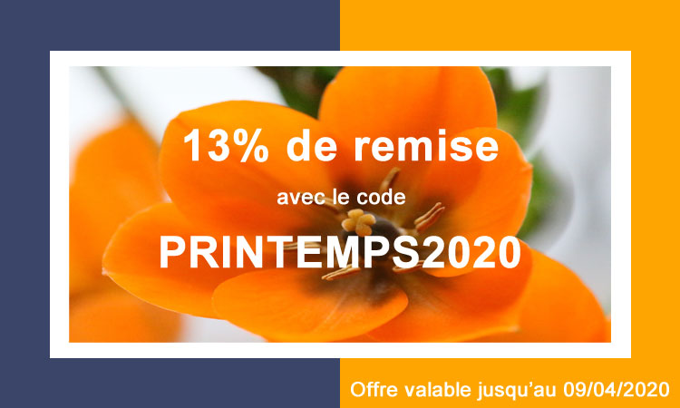 13% de remise pour fêter le Printemps avec le code PRINTEMPS2020