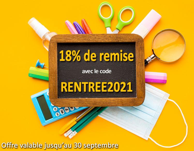 18% de remise avec le code RENTREE2021
